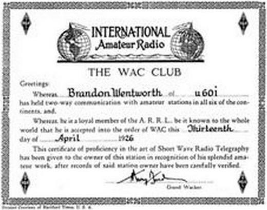 Диплом WAC №1, 1926 г.