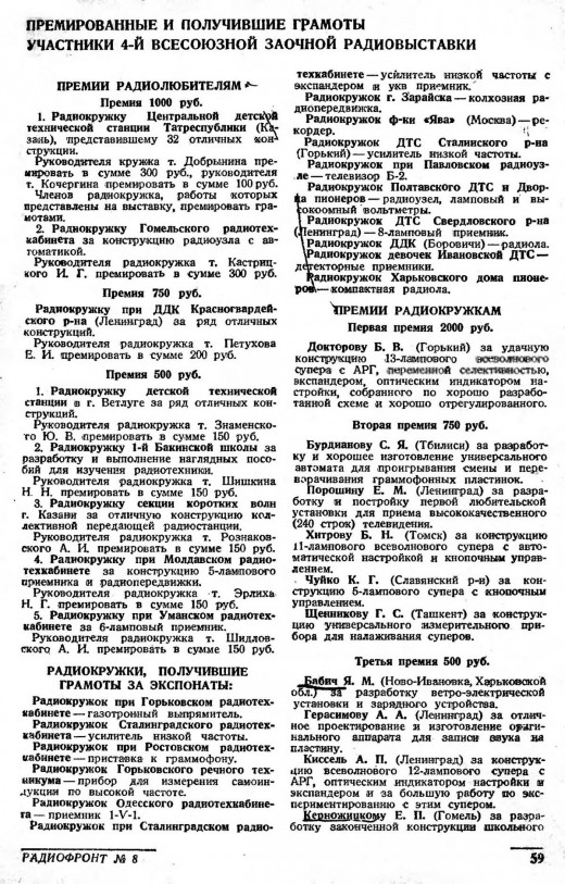 Из журнала «Радиофронт» (#8/1939)
